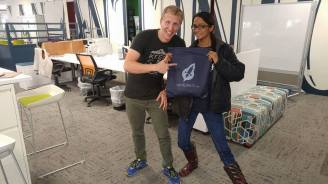 Sreenidhi recieving goodies from Nick!